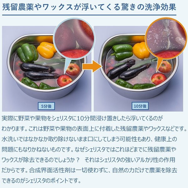 野菜・くだもの洗い Shellista ( シェリスタ ) パウダータイプ 天然成分 100% ナチュラル 100g 【 ノロウイルス 対策 / 残留農薬 ワックス除去 スムージーに 】|newlogic-store|10