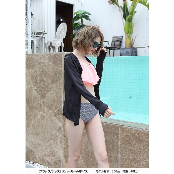 ラッシュガード  UVパーカー 水着用 レディース 大きいサイズ M L XL ロング丈 トップス UVカットウエア 紫外線対策 ショートパンツ 長袖 薄手 吸水速乾 夏|newmode|14