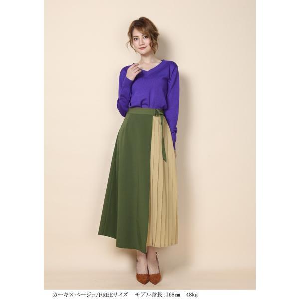 8ebeeda0136a6e ... ロングスカート ラップスカート 巻きスカート ラップデザイン リメイク風スカート Aライン 異素材MIX ...