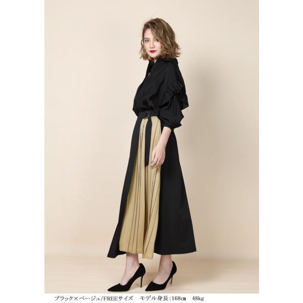 e9c8701292aa42 ... ロングスカート ラップスカート 巻きスカート ラップデザイン リメイク風スカート Aライン 異素材MIX