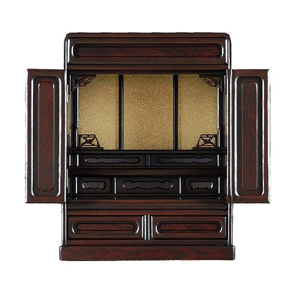 上置き 家具調仏壇 木製 紫檀調 ( 面影 ( おもかげ)) 18号 幅43cm 奥行30cm