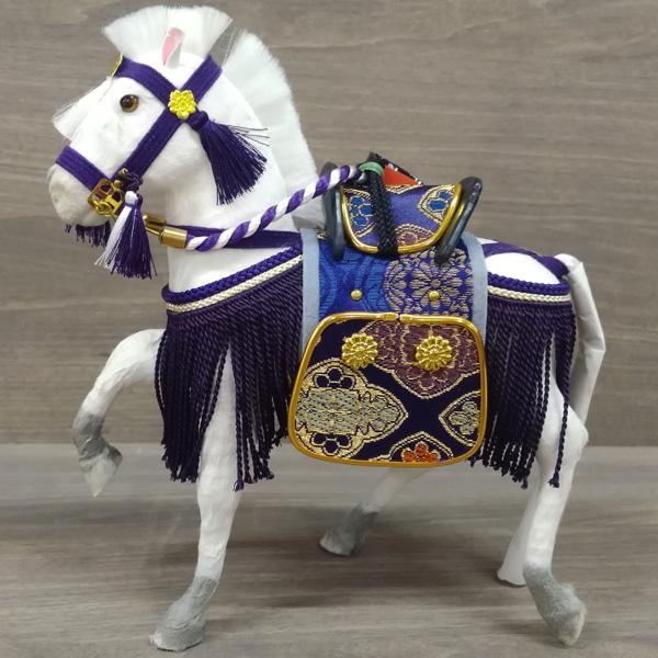 五月人形飾り馬コンパクトおしゃれ初節句男の子お祝い子供の日こどもの日(飾馬出飾り6号紫箱入)数量