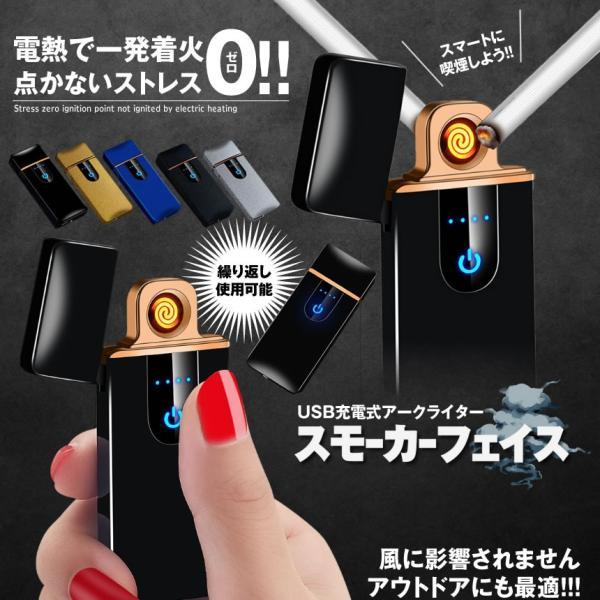 スモーカーフェイス ブルー 電熱 電子 ターボライター USB充電式 煙草 タバコ 喫煙 グッズ SUMORKFC-BL|nexts|02