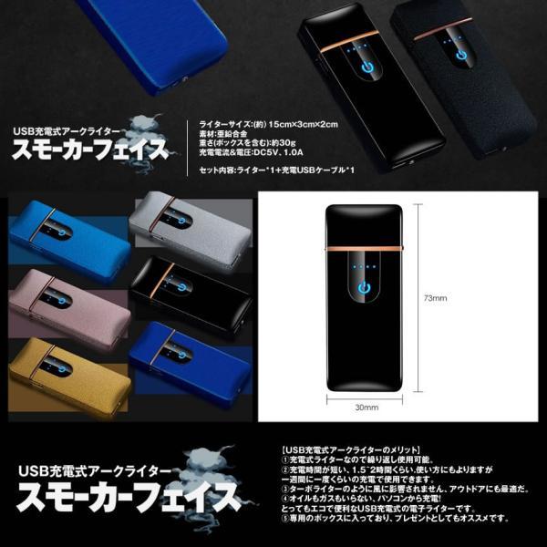 スモーカーフェイス ブルー 電熱 電子 ターボライター USB充電式 煙草 タバコ 喫煙 グッズ SUMORKFC-BL|nexts|05