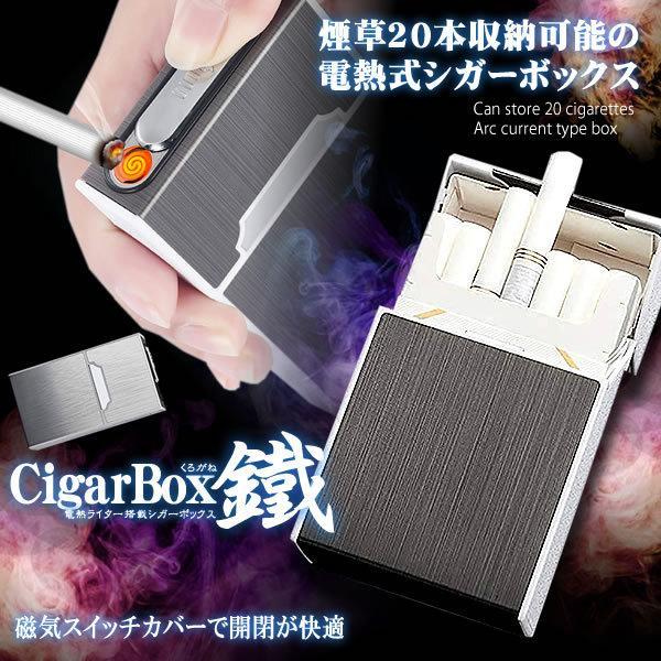 電子ライター USB充電式 タバコケース 20本収納 プラズマ 2in1 シガレットケース 防水 防湿 落下防止 KUROGANE