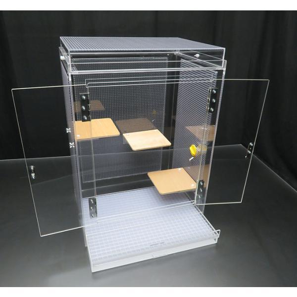 観音開きのフクロモモンガケージ 45×35×63cm 平面フタ