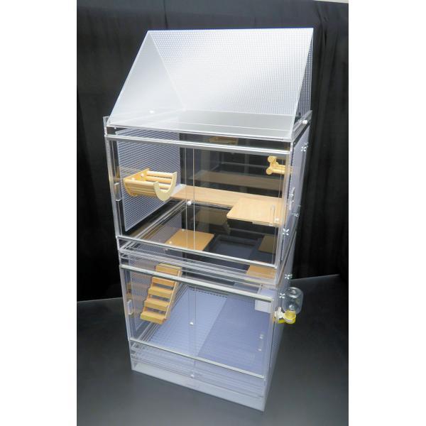 50×50×118cm フクロモモンガケージ 三角屋根 2面パンチング スペシャルセット キャスター架台付き