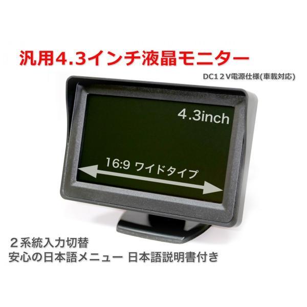 汎用4.3インチワイド液晶モニター DC12V電源仕様(車載対応)2系統入力|nfj