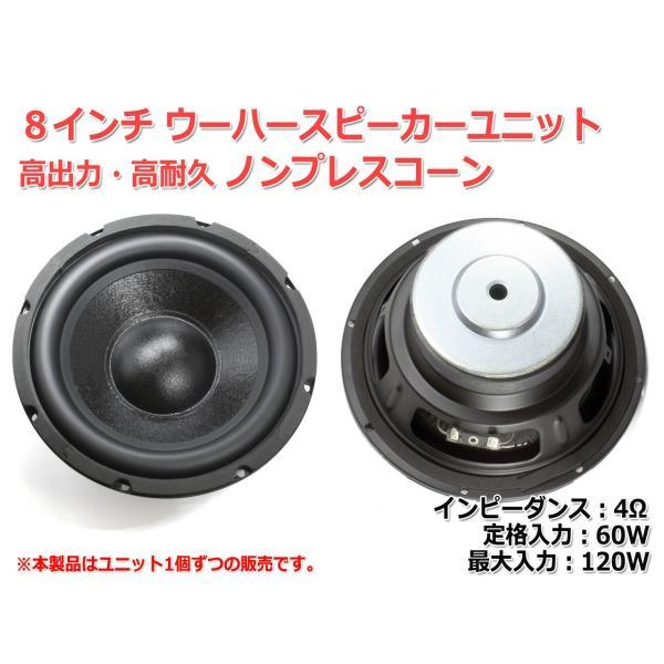 樹脂コーティングノンプレスコーンウーハーユニット8インチ(184mm) 8Ω/MAX120W [スピーカー自作/DIYオーディオ]|nfj