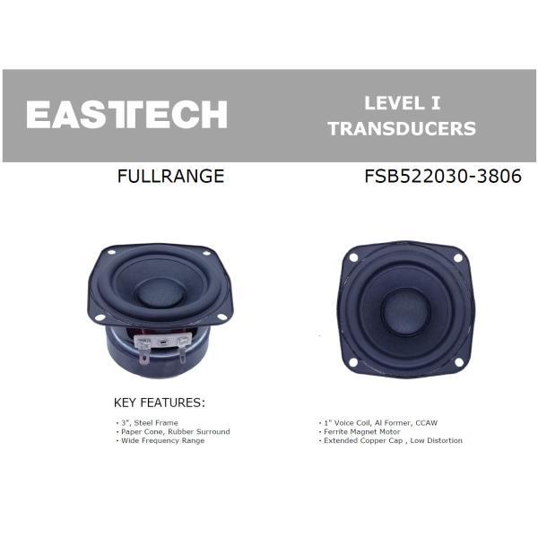 EASTEC FSB522030-3806 フルレンジスピーカーユニット3インチ(70mm) 8Ω/MAX40W [スピーカー自作/DIYオーディオ]|nfj|04