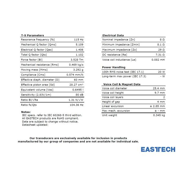 EASTEC FSB522030-3806 フルレンジスピーカーユニット3インチ(70mm) 8Ω/MAX40W [スピーカー自作/DIYオーディオ]|nfj|07