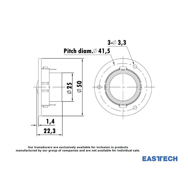 EASTECH FSA541510-1800 シルクドームツイーターユニット0.8インチ(23mm) 8Ω/MAX30W [スピーカー自作/DIYオーディオ]|nfj|04