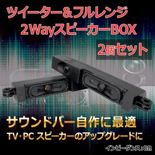 ツイーター&フルレンジ2WayスピーカーBOXL/R 2個セット サウンドバー自作に最適8Ω/MAX20W スピーカー自作/DI