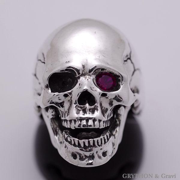 指輪 スカルリング Luck Skull Ring ラック スカル リング ガーネット トパーズ |nfw|05
