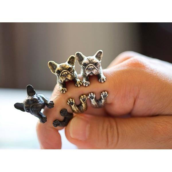 リング フレンチブルドッグ 犬 Cリング C型リング フォークリング アニマルリング ファランジリング ユニセックス 雑貨 グッズ|nfw