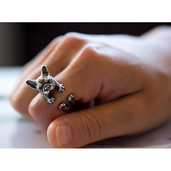 リング フレンチブルドッグ 犬 Cリング C型リング フォークリング アニマルリング ファランジリング ユニセックス 雑貨 グッズ|nfw|03