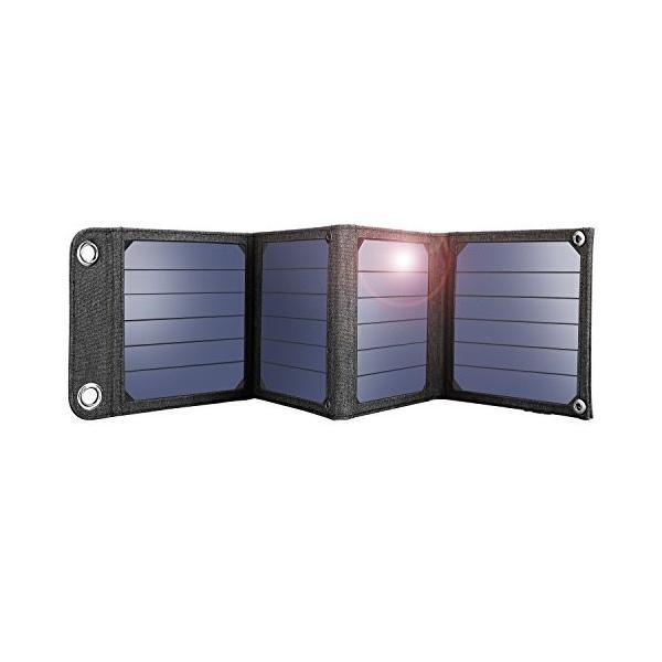 suaoki ソーラーチャージャー 14W ソーラーパネル 4枚搭載 折りたたみ式 USB自動検知機能搭載 軽量 コンパクト ポータブル アウトドア|ngo-worksstore