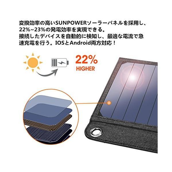 suaoki ソーラーチャージャー 14W ソーラーパネル 4枚搭載 折りたたみ式 USB自動検知機能搭載 軽量 コンパクト ポータブル アウトドア|ngo-worksstore|05