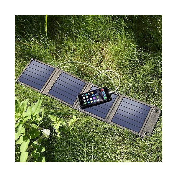 suaoki ソーラーチャージャー 14W ソーラーパネル 4枚搭載 折りたたみ式 USB自動検知機能搭載 軽量 コンパクト ポータブル アウトドア|ngo-worksstore|06