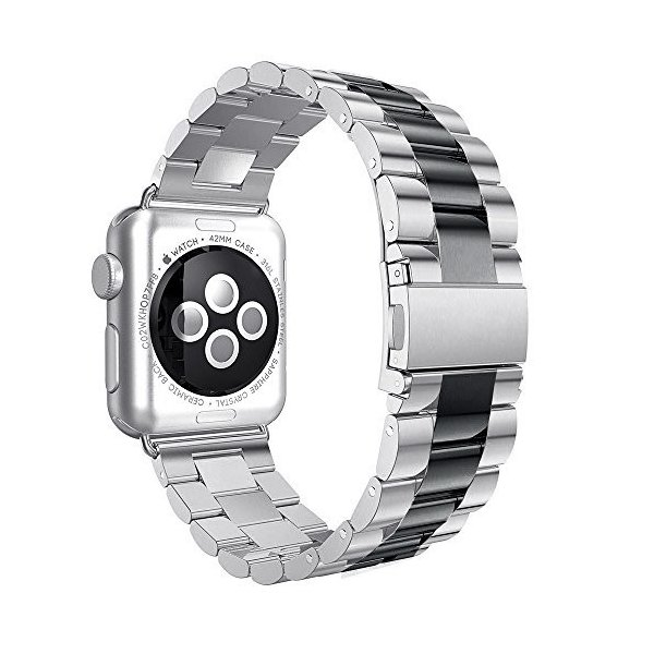 Apple Watchバンド42?mmステンレススチールリストバンドメタルバックル留めのiWatch交換ストラップブレスレットApple Watchシ