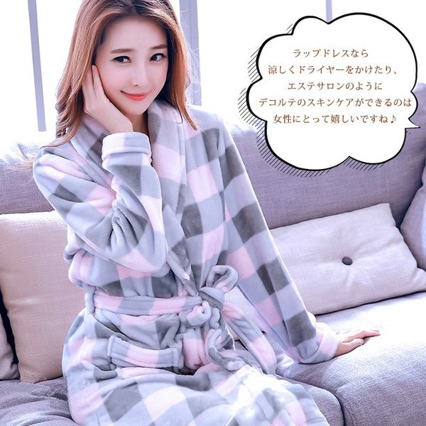 バスローブ レディース メンズ カップル ルームウェア ふわふわ 暖かい もこもこ 長袖 厚手 部屋着 寝巻き 大きいサイズ ngytomato 16