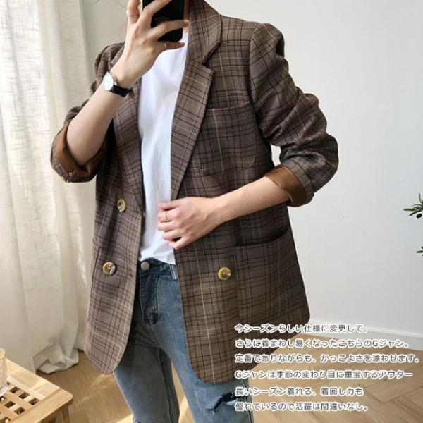 スーツコート レディース ジャケット ポケット付き チェック柄 長袖 ゆったり ビジネス OL おしゃれ きれいめ カジュアル 通学 通勤 オーバーサイズ ngytomato 08