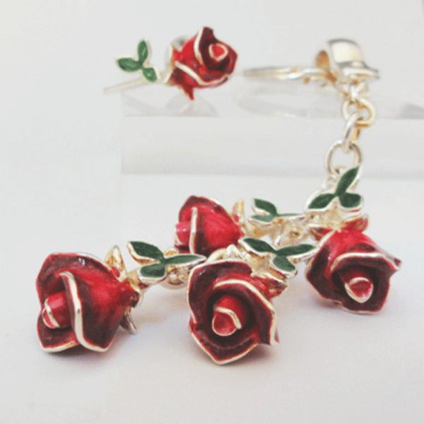 ローズ 赤いバラのキーホルダー サツルノ社 イタリア製 誕生日 プレゼント 薔薇 花 女性