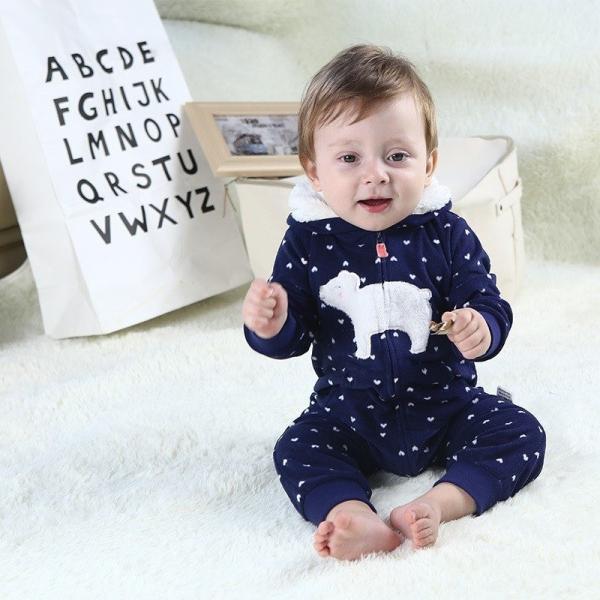 cc9eb916e2449 カバーオール ロンパース 耳付き 子供服 ベビー服 赤ちゃん服 男女兼用 長袖 長ズボン 厚手 ジップ