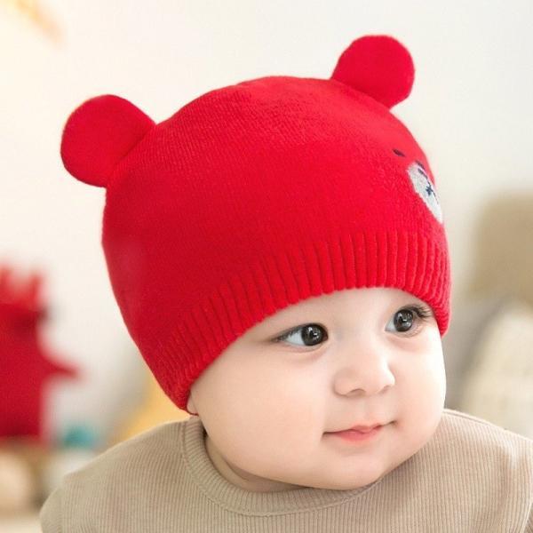 1b8f1c4b18712 ベビー用ニット帽 ニットキャップ 耳付き帽子 クマ耳 子供用 キッズ ぼうし 防寒