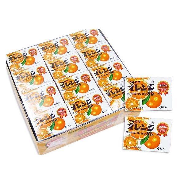 マルカワ 6粒 マーブル フーセン ガム オレンジ味 (33個+当り3個)駄菓子 ガム 当たり付き 懐かしい まとめ買い 箱買い お菓子 景品