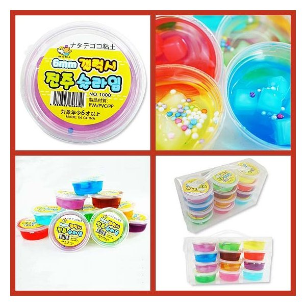 韓国ナタデココ粘土(12個入) 韓国スライム キラパテ粘土 玩具 景品 プチギフト|nichokichi|04