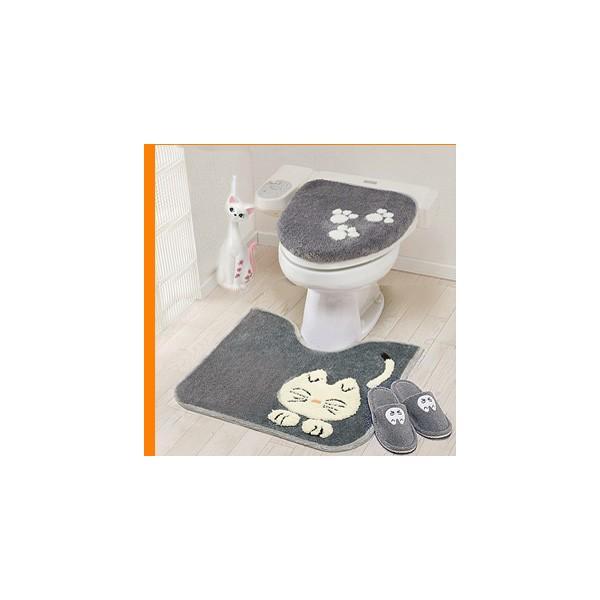 A534猫好きに大人気(短耳3点)プリキャット トイレ3点セット (洗浄暖房用)フタカバー足元マット短スリッパネコトイレキャットマ3猫トイレ用品CAT猫耳