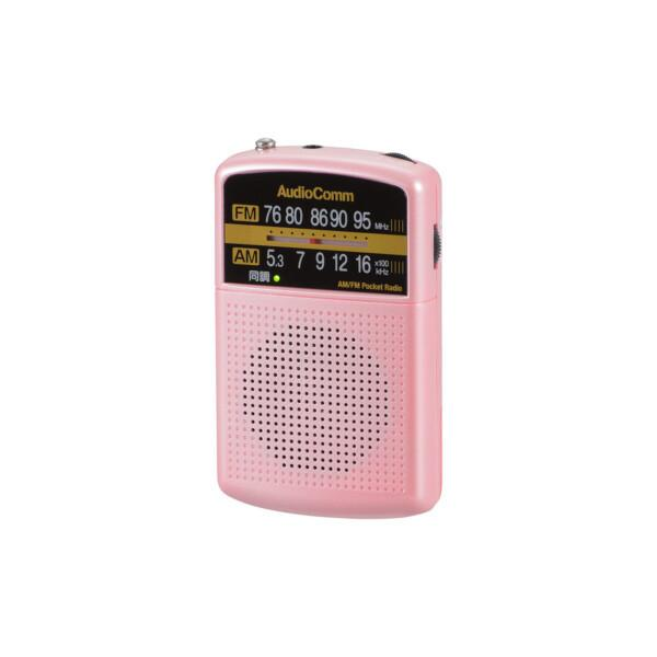 AM/FMポケットラジオRAD-P125N-Pピンクオーム電機防災グッズレジャー用品イヤホン付JAN/4971275789531