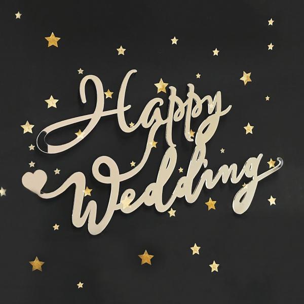 アクリルサイン プレート Happy Wedding ハッピーウェディング 厚み2mm|nidek|02