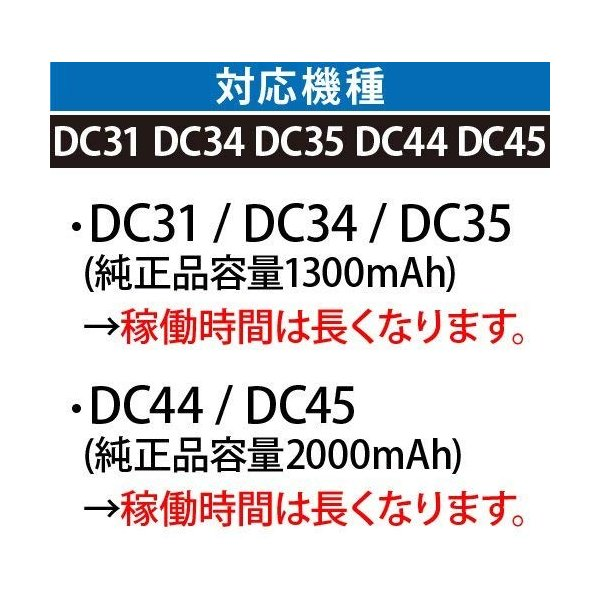 Dyson ダイソンDC31 DC34 DC35 DC44(Type B,DC44 MK2非対応)2200mAh ボタン脱着式|nihon-dm|02