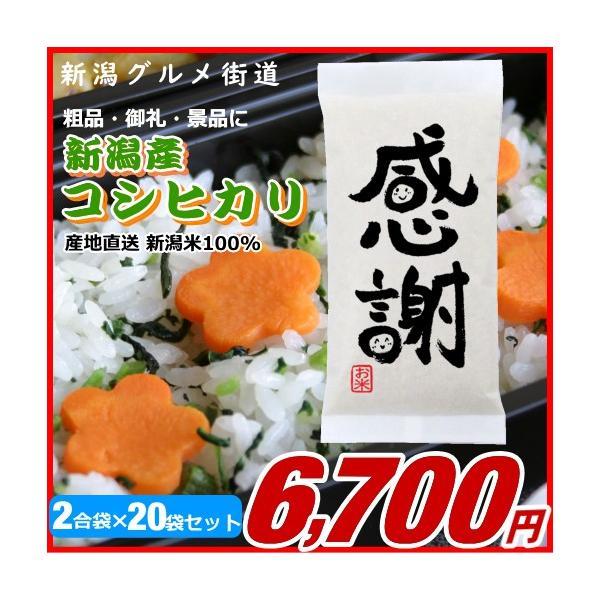 粗品 御礼 新潟県産コシヒカリ 300g(2合)×20袋【感謝】プチギフト、イベント景品など