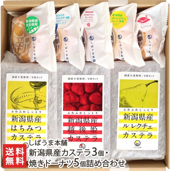 新潟産 カステラ3個・焼きドーナツ5個 しばうま本舗/御歳暮にも!ギフトにも!/のし無料/送料無料