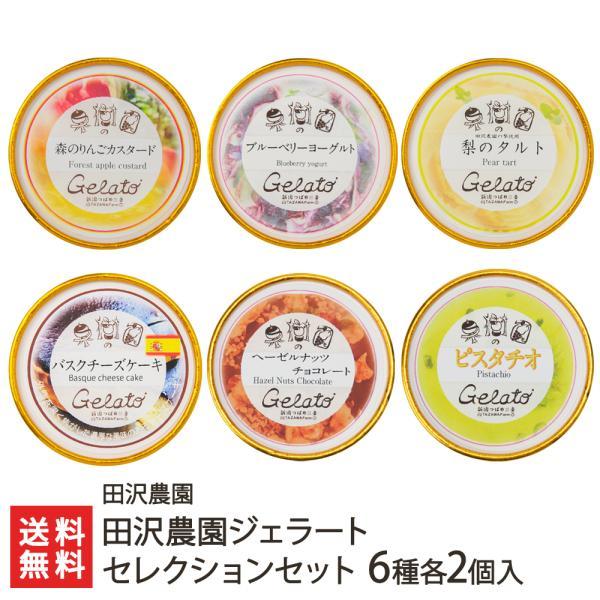 田沢農園ジェラート定番6種各2個入(キャラメル、ティラミス、黒ごま、きな粉、ヘーゼルナッツチョコレート、ピスタチオ)/お中元ギフト/のし無料/送料無料