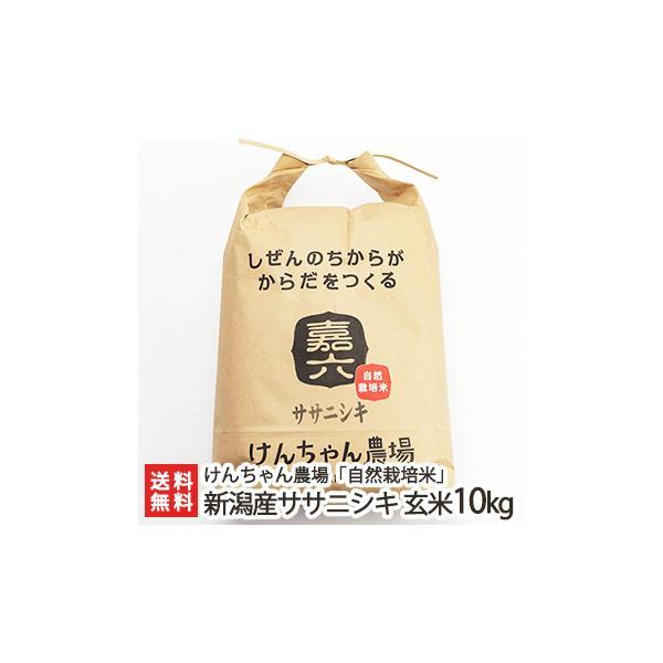 令和3年度新米 新潟県産 自然栽培米ササニシキ 玄米10kg けんちゃん農場/ギフト/のし無料/送料無料
