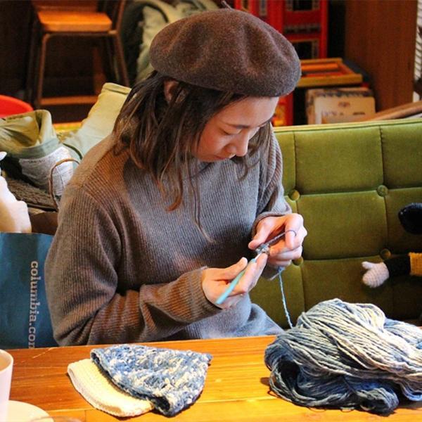 【Ainomi】本建正藍染職人がオーガニックコットンを藍で染め、手芸職人が手編み施した子供用ニット帽子|niimo|11
