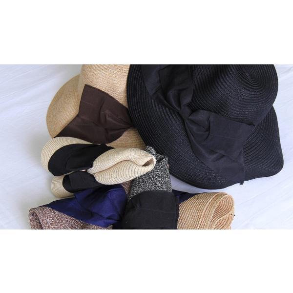春夏レディース サイズ調節可能 帽子 春 夏 ウォッシャブルミックスハット キャメル 洗える たためる ナチュラル ペーパー ハット UV 対策 メール便送料無料