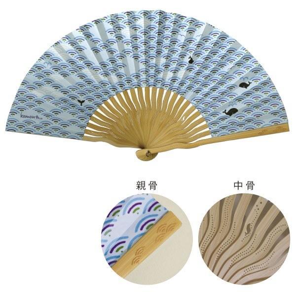 komon+ 和紙扇子70型25間〔3本セット〕青海波クジラ nijiiromarket
