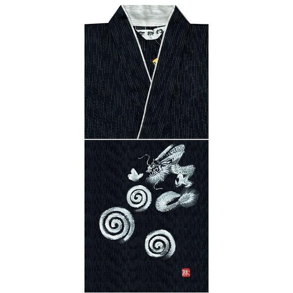 京都手描き絵甚平 龍/黒 LL|nijiiromarket|02