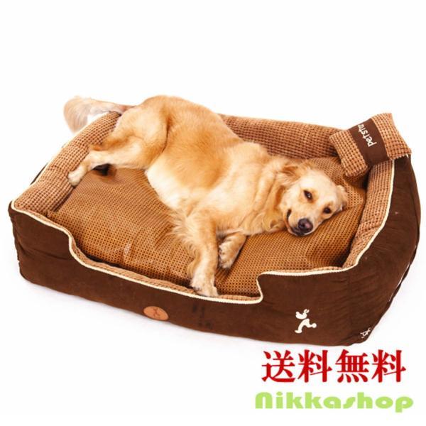 ペットベッド 冬 大型犬 犬 猫 コーデュロイ スクエア 角型 XLサイズ ブラウン 大型宅配便送料無料/代引不可|nikkashop