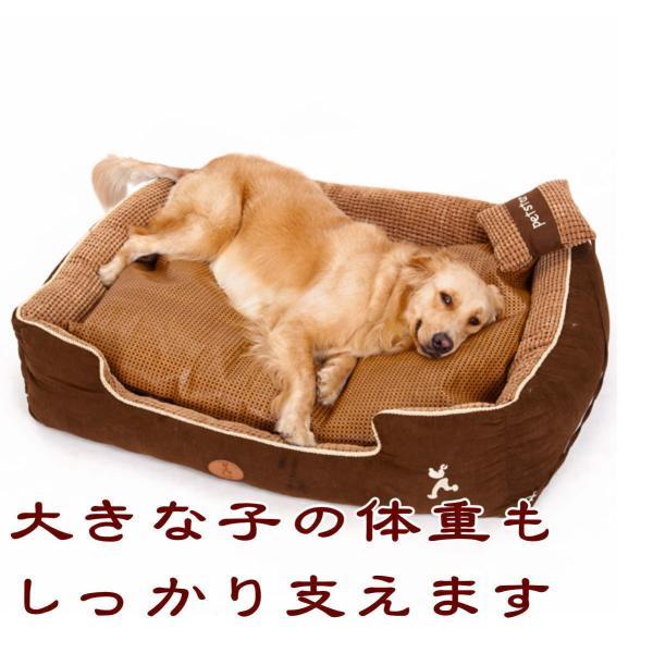 ペットベッド 冬 大型犬 犬 猫 コーデュロイ スクエア 角型 XLサイズ ブラウン 大型宅配便送料無料/代引不可|nikkashop|03
