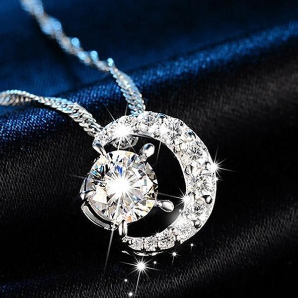 タイムセール レディース ネックレス ペンダント  三日月  AAA 一粒 CZダイヤモンド シルバー 星と月 チェーン スワロフスキー 風 リング|niko-mart