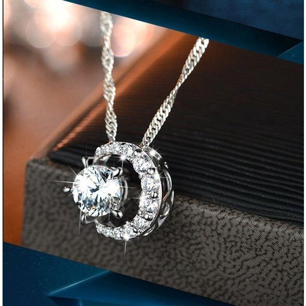 タイムセール レディース ネックレス ペンダント  三日月  AAA 一粒 CZダイヤモンド シルバー 星と月 チェーン スワロフスキー 風 リング|niko-mart|02