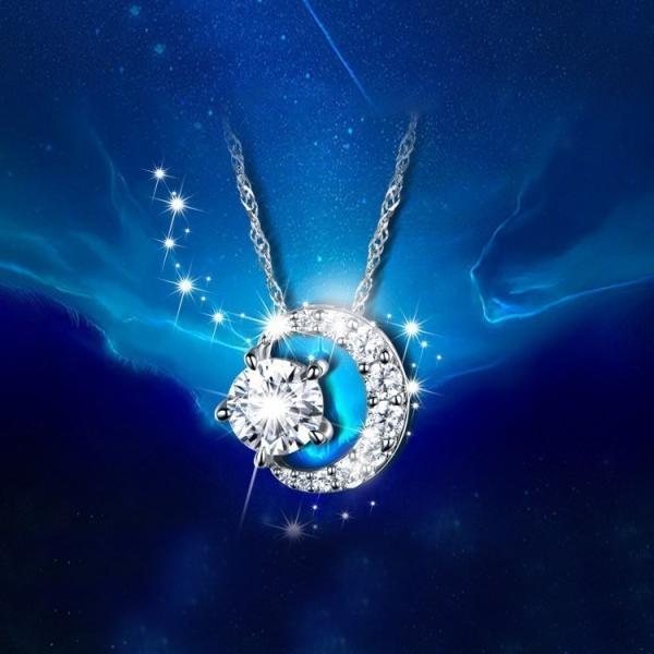 タイムセール レディース ネックレス ペンダント  三日月  AAA 一粒 CZダイヤモンド シルバー 星と月 チェーン スワロフスキー 風 リング|niko-mart|05