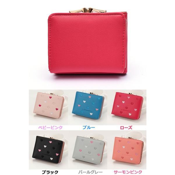 f12bbb7a0833 ... 財布 二つ折り財布 がま口財布 ミニ財布 レディース財布 可愛い ハート コンパクト 大容量 レディース ...