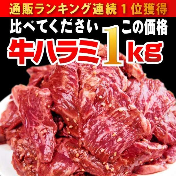 肉 焼肉 極旨秘伝のタレ漬け 牛ハラミ 1kg ランキング第1位 約4-6人前 送料無料 冷凍 牛肉 バーベキュー bbq 焼き肉 訳あり わけあり|niku-donya